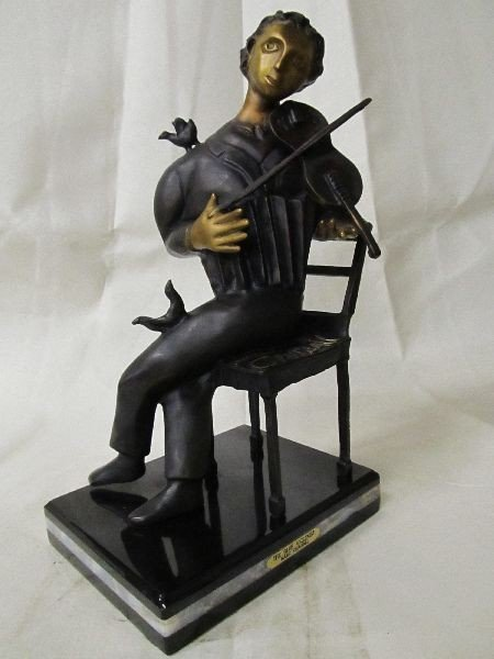 The Blue Violinist Bronze Inspired by Marc Chagall