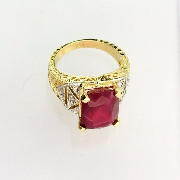 APP: 14.7k 14 kt. Yellow & White Gold, 9.73CT Ruby Ring