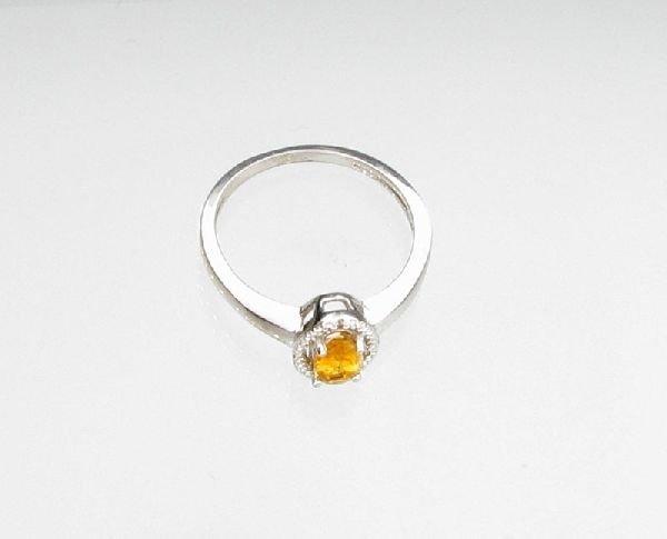 APP: 0k 0CT Citrine & Diamond Overlaid Silver Ring