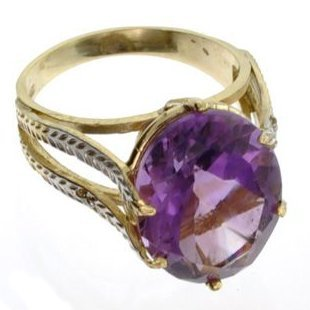 APP: 2k 14kt Yellow & White Gold, 8.07CT Amethyst Ring