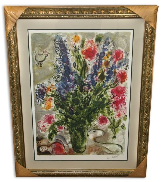 Marc Chagall 'Les Lupins Bleu' Museum Framed & Matted