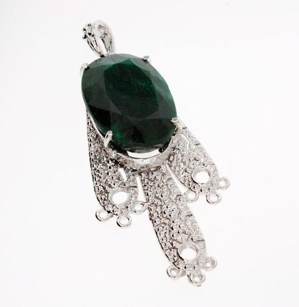 APP: 5.1k 72.86CT Emerald & Sterling Silver Pendant