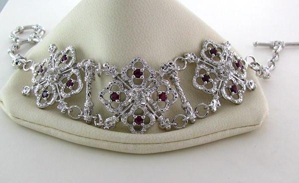 APP: 6k 1CT Ruby & Plat Overlaid Sterl Silver Bracelet