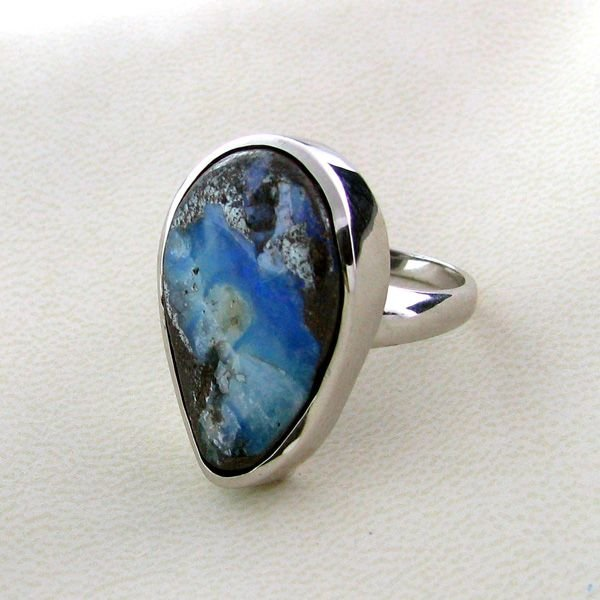 APP: 7.1k 21.39CT Boulder Opal & Sterling Silver Ring