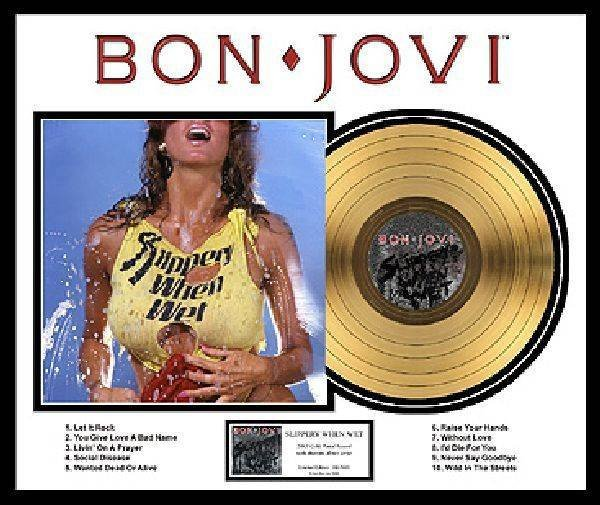 "BON JOVI ""Slippery When Wet"" Gold LP"