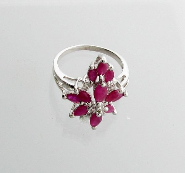 APP: 2k 1.72CT Marquise Cut Ruby & Sterling Silver Ring