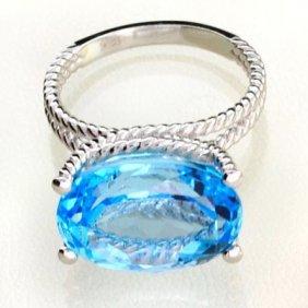 APP: 1k 12CT Topaz & Plat Overlaid Sterl Silver Ring