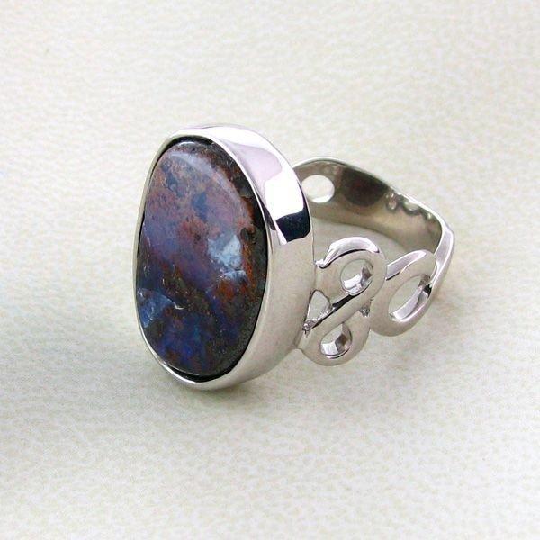 APP: 8.4k 14.76CT Boulder Opal & Sterling Silver Ring