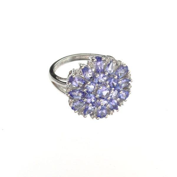 APP: 4k 3CT Tanzanite & Diamond Plat Sterl Silver Ring