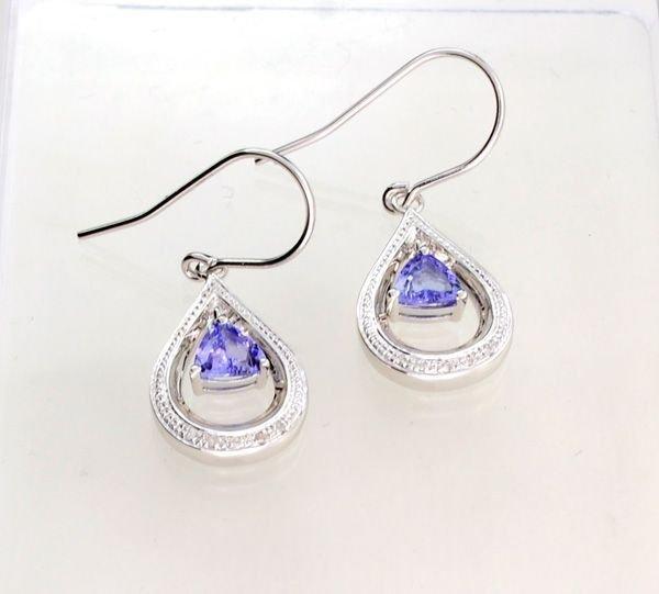 APP: 1k Tanzanite & Diamond Overlaid Silver Earrings