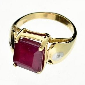 APP: 7.6k 14 kt. Yellow & White Gold, 6.07CT Ruby Ring