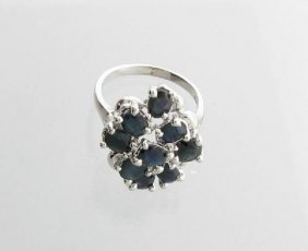 APP: 3k 3CT Oval Cut Sapphire & Sterling Silver Ring