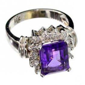 APP: 5k 14kt White Gold, 3CT Amethyst Diamond Ring
