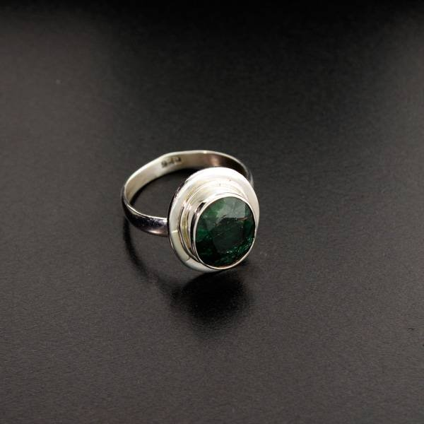 APP: 1k 5.41CT Green Sapphire & Sterling Silver Ring