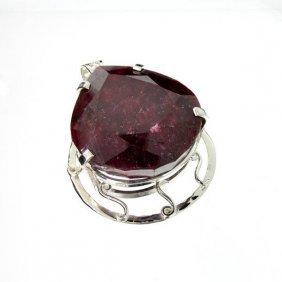 APP: 14k Sebastian 226CT Pear Cut Ruby & Silver Pendant