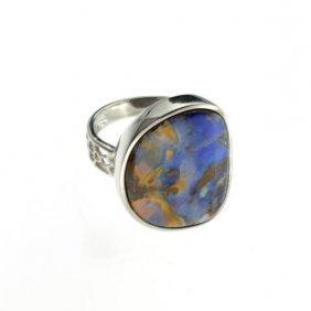 APP: 11.5k 4.38CT Boulder Opal & Sterling Silver Ring