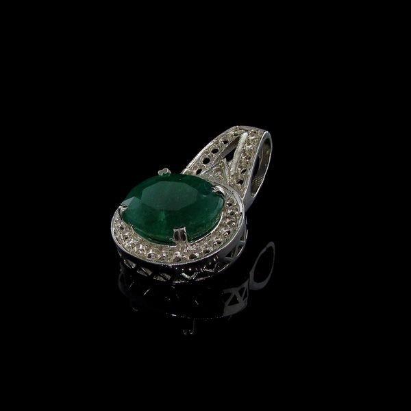 APP: 7.8k 10.99CT Emerald & Sterling Silver Pendant