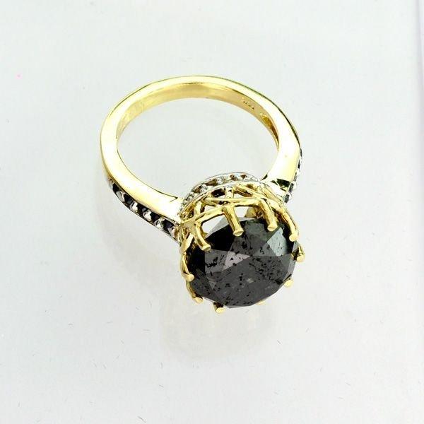 APP: 12k 14kt Gold, 5k Diamond & Black Tourmaline Ring