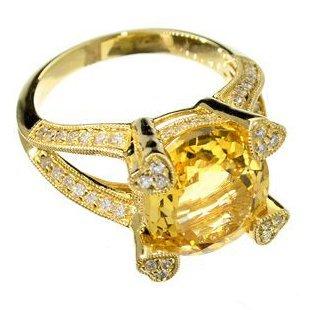 APP: 5k 14kt Gold, 4CT Citrine & Diamond Ring