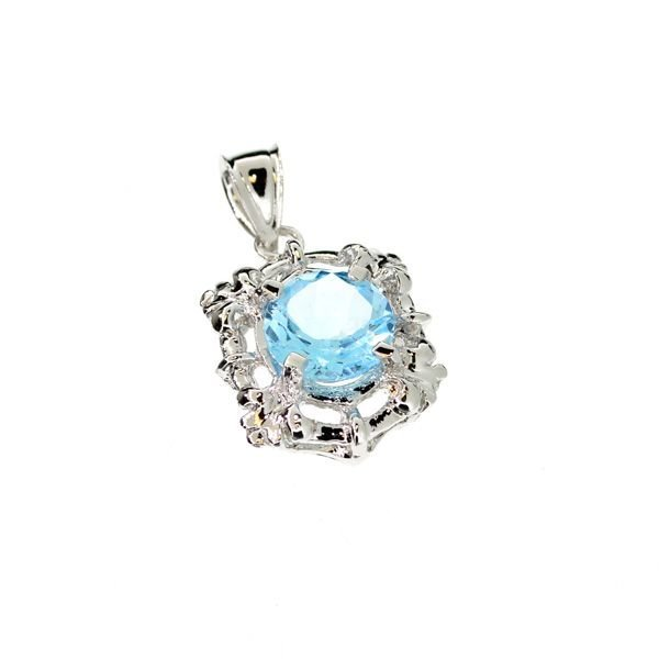 APP: 0k 3CT Round Cut Topaz & Sterling Silver Pendant