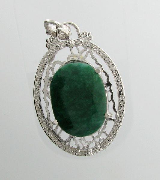 APP: 6.7k 52.70CT Emerald & Sterling Silver Pendant