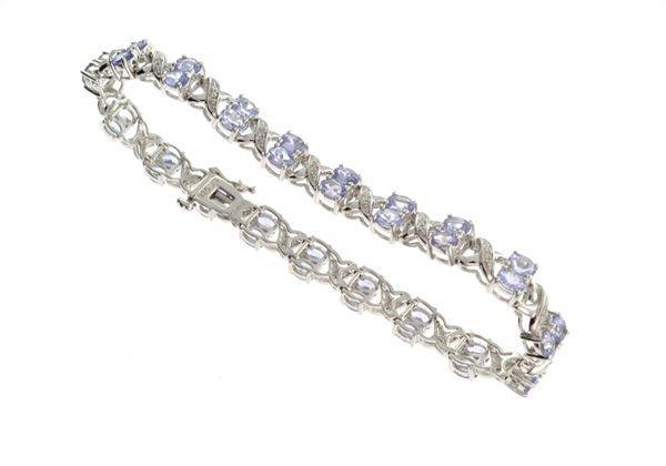 APP: 5k 4CT Tanzanite & Diamond Silver Bracelet