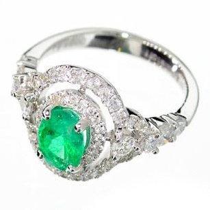 APP: 9k 14kt White Gold, Emerald & Diamond Ring