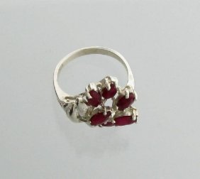 APP: 1.9k 2.70CT Marquise Cut Ruby Sterling Silver Ring