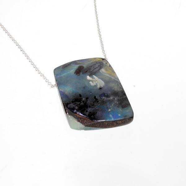 APP: 9.4k Boulder Opal & Sterling Silver Necklace