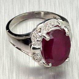 APP: 9.1k 6.80CT Ruby & Sterling Silver Ring
