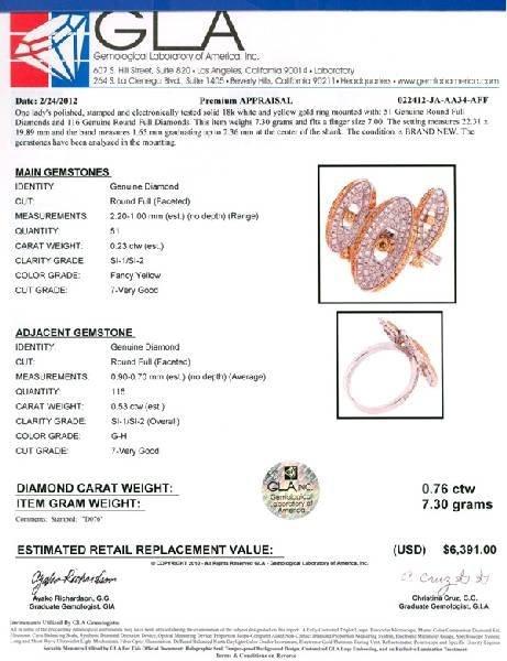 APP: 6k 18kt White/Yellow Gold, Round Cut Diamond Ring - 2