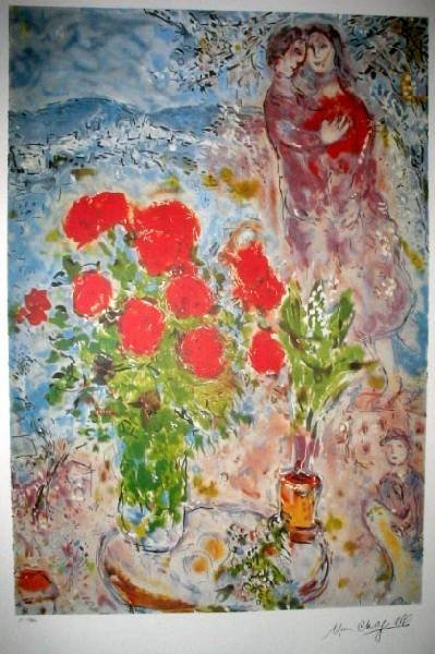 MARC CHAGALL Red Bouquet w/Lovers Print, Limited Edn