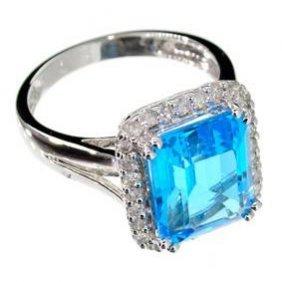 APP: 4k 14kt White Gold 5CT Topaz & Diamond Ring