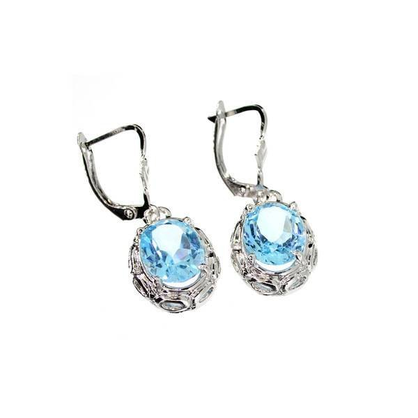 APP: 1k 8CT Oval Cut Topaz & Sterling Silver Earrings