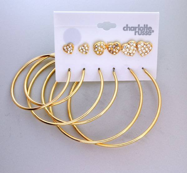 Charlotte Russe - 6 Different Sizes Earrings Set