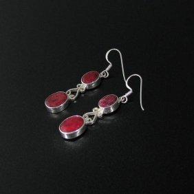 APP: 5.9k 12.33CT Ruby & Sterling Silver Earrings