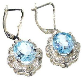 APP: 1k 9CT Oval Cut Topaz & Sterling Silver Earrings