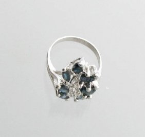 APP: 6k 2CT Marquise Cut Sapphire & Sterl Silver Ring