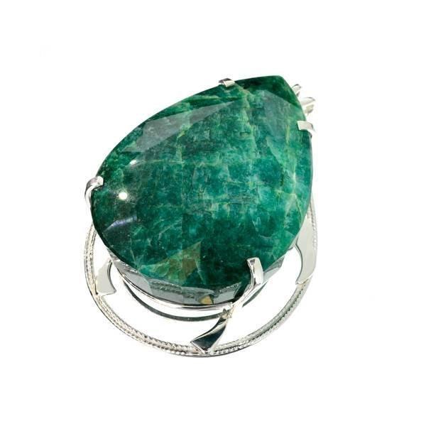 APP: 28k Sebastian 496CT Pear Emerald & Silver Pendant