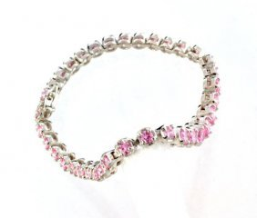 Custom Silver French Cubic Zirconium Tennis Bracelet