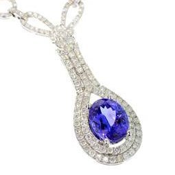 APP: 46k 14kt Gold 4CT Tanzanite 4CT Diamond Necklace