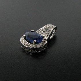 APP: 8k 10.06CT Blue Sapphire & Sterling Silver Pendant