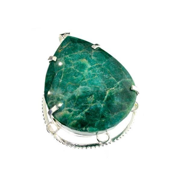 APP: 23k Sebastian 378CT Pear Emerald & Silver Pendant