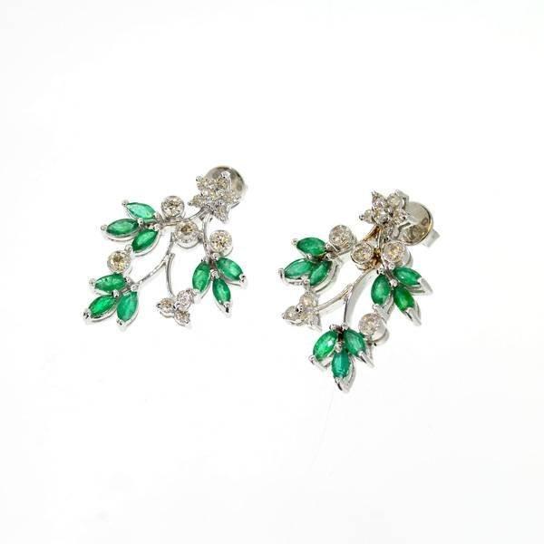 APP: 8k 18kt White Gold, 1CTEmerald & Diamond Earrings