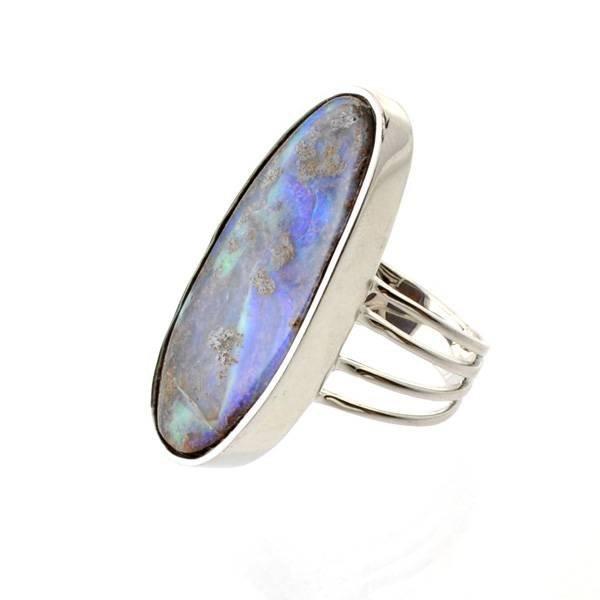 APP: 14.9k 4.63CT Boulder Opal & Sterling Silver Ring