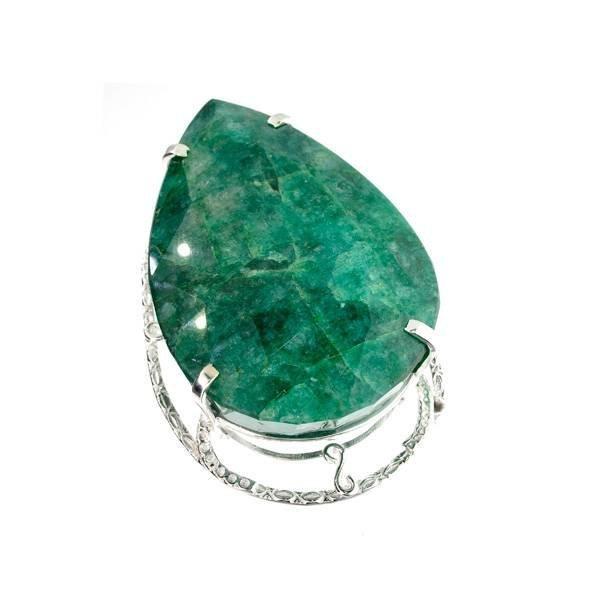 APP: 26k Sebastian 423CT Pear Emerald & Silver Pendant