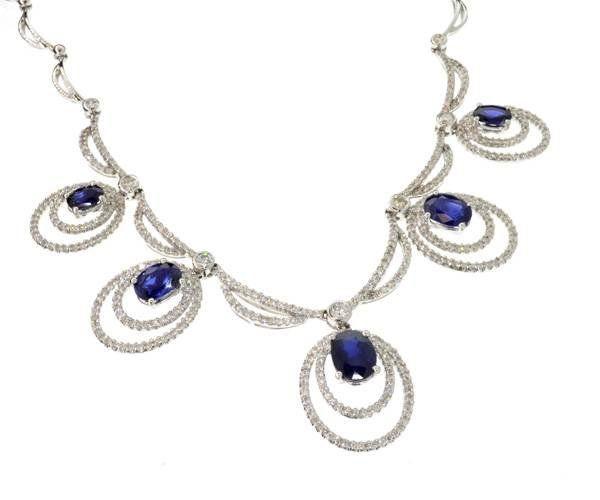 APP: 28k 14kt Gold2CT Sapphire 2CT Diamond Necklace