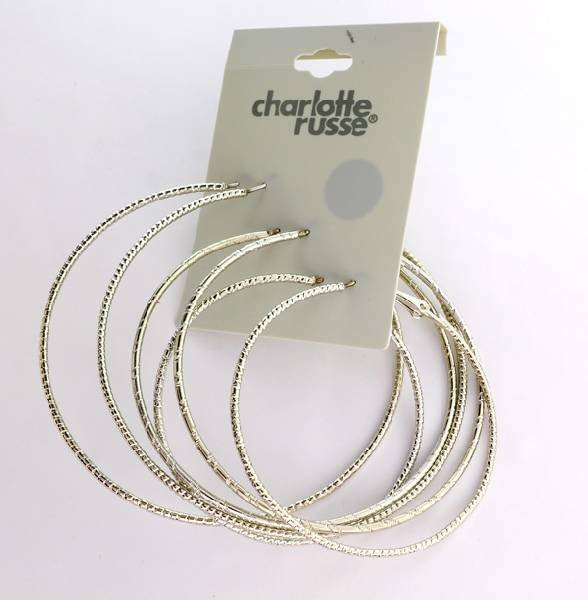 Charlotte Russe Jewelry 3 Different Size Loop Earrings