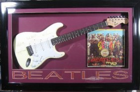 Beatles Laser Engraved Guitar - Plate Signatures