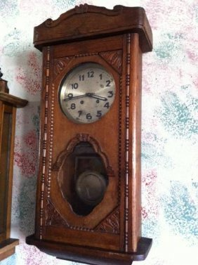 Antique Wooden Wall Clock, Time & Strike - Runs Well